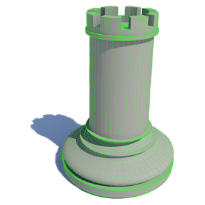 3D animation services - rook chess wireframe concept